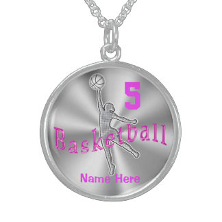 Personalized Sterling Silver Basketball Necklace