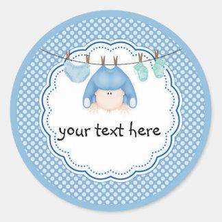 Personalized Sticker/Baby Boy Laundry Round Sticker