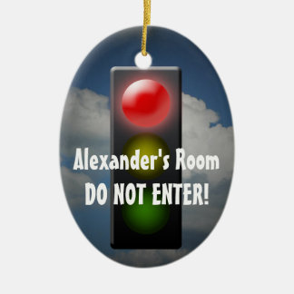 Personalized Stop / Go Door Hanger, Traffic Light Christmas Ornament