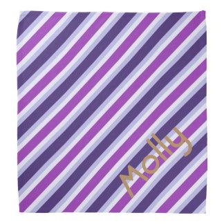 Personalized Stripe Pattern - Blue Purple Lavender Bandana