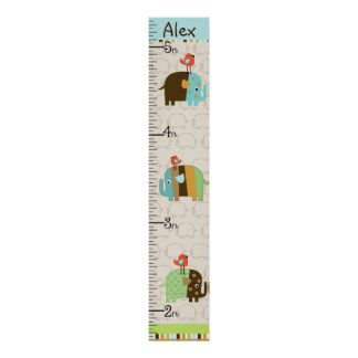Personalized Striped African Elephant Growth Chart Poster