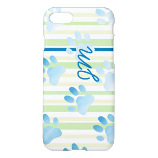 Personalized Striped Blue Paw Monogram iPhone 7 Case