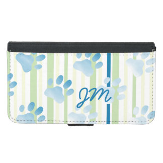 Personalized Striped Blue Paw Print Monogram
