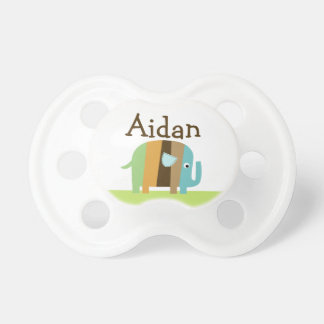 "Personalized ""Striped Elephant"" Baby Pacifier"