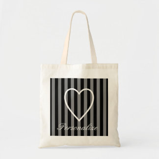 Personalized striped heart bridesmaid tote bag
