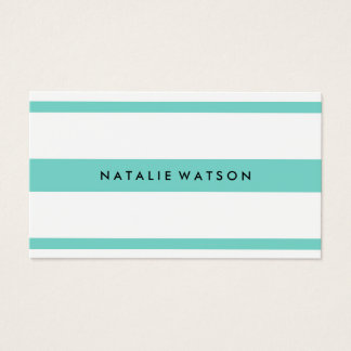 Personalized Striped Turquoise Modern Minimalist Business Card