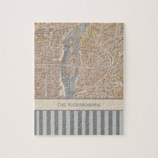 Personalized Striped Vintage Antique Map of Paris Jigsaw Puzzle