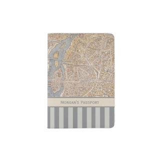 Personalized Striped Vintage Antique Map of Paris Passport Holder