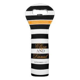 Personalized striped wedding wine bag