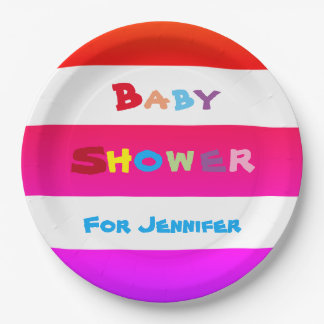 PERSONALIZED Stripes BABY SHOWER Paper Plates