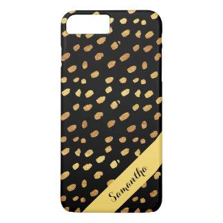 Personalized Stylish Black and Gold Confetti iPhone 8 Plus/7 Plus Case