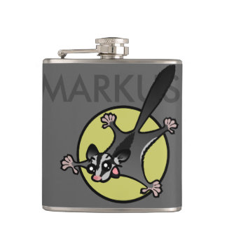 PERSONALIZED SUGAR GLIDER VINYL WRAPPED FLASK