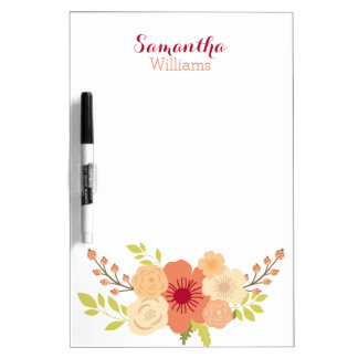 Personalized Summer Blooms Dry Erase Board