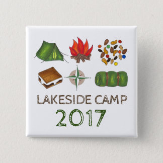 Personalized Summer Camp Camper Camping Button