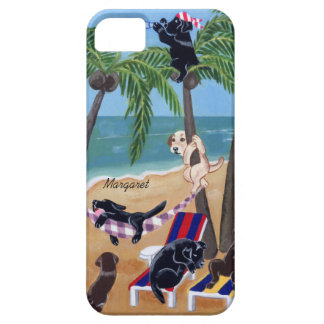 Personalized Summer Vacation Labradors Painting Barely There iPhone 5 Case