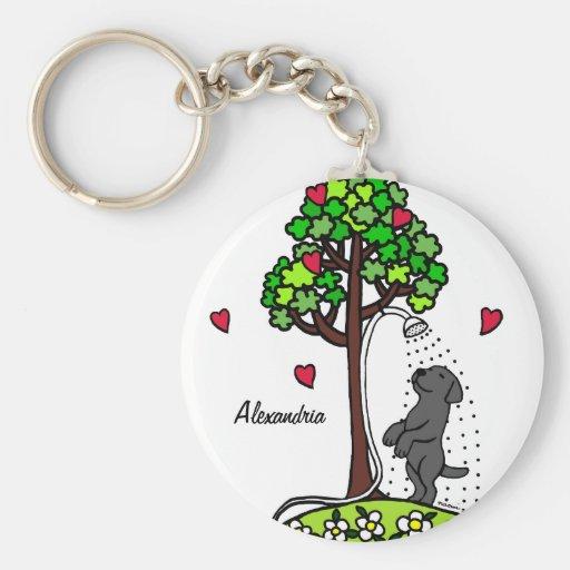 Personalized Summer Water Fun Black Labrador Key Chain
