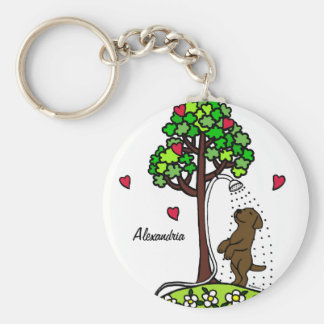 Personalized Summer Water Fun Chocolate Labrador Basic Round Button Key Ring