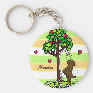 Personalized Summer Water Fun Chocolate Labrador Keychain
