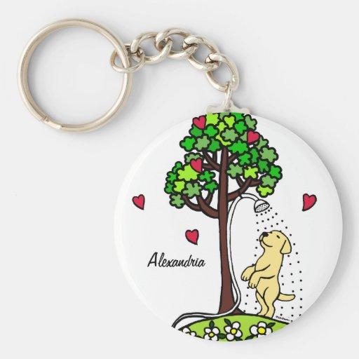 Personalized Summer Water Fun Yellow Labrador Key Chain