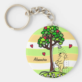 Personalized Summer Water Fun Yellow Labrador Key Chain