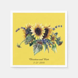 Personalized Sunflower Bouquet Disposable Serviettes