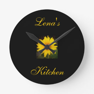 Personalized Sunflower Clock-Lena's Kitchen Round Clock