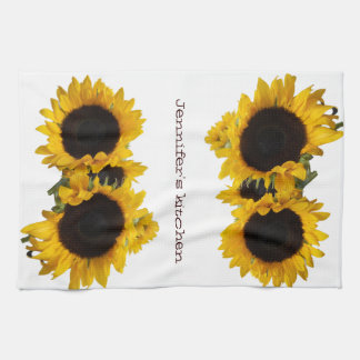 Personalized Sunflower Custom Tea Towel