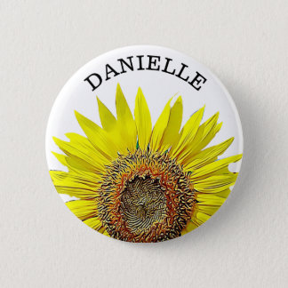 Personalized Sunflower Name Button