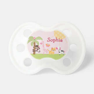 "Personalized ""Sunny Safari Animals"" Baby Pacifier"