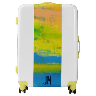 Personalized Sunny Yellow Blue Coral Abstract Art Luggage