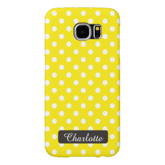 Personalized Sunny Yellow Polka Dots Vintage Samsung Galaxy S6 Cases