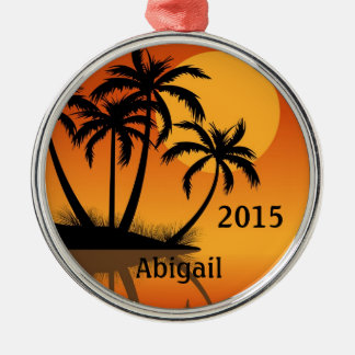 Personalized Sunset and Palm Trees Tropical Beach Christmas Ornament