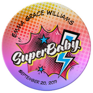 Personalized SuperBABY keepsake plate, superhero Plate
