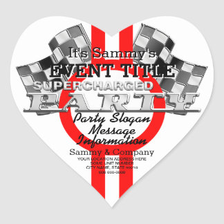 Personalized Supercharged Performance Party Heart Sticker