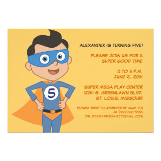 Personalized Superhero Kids Birthday Party Invites