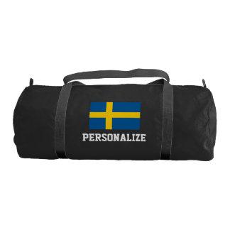 Personalized swedish flag duffle gym bag for sport gym duffel bag
