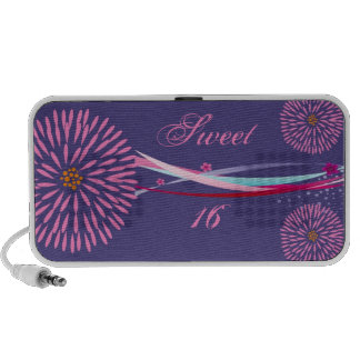 Personalized Sweet 16 Doodle Travel Speakers