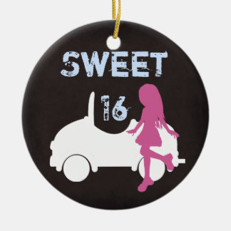 Personalized Sweet 16 Girl and Car ~ Pink, Blue Christmas Ornament