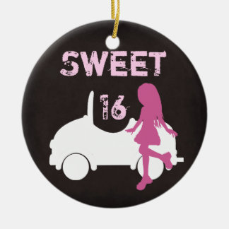Personalized Sweet 16 Girl and Car ~ Pink, Brown Christmas Ornament