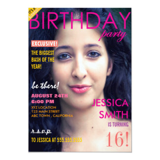 Personalized Sweet 16 Magazine Cover Photo Invites