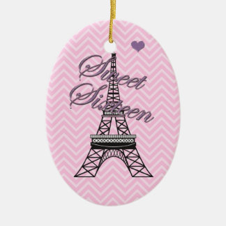 Personalized Sweet 16  Paris Eiffel Tower Ornament