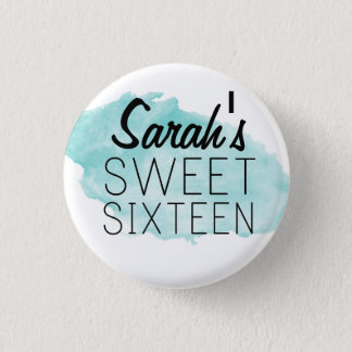 Personalized Sweet 16 Watercolor Pin