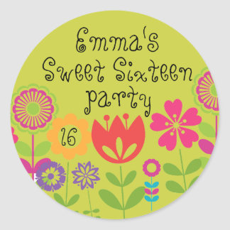 Personalized Sweet Sixteen Party Sticker Flowers