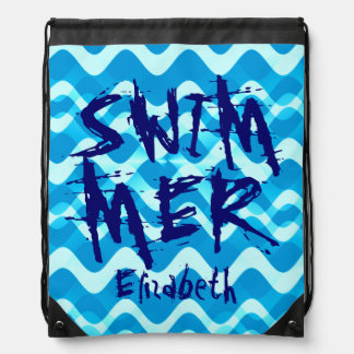 Personalized SWIMMER Drawstring Bags