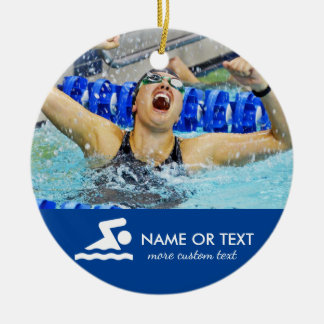 Personalized Swimming Photo Christmas Round Ceramic Decoration