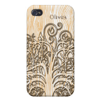 Personalized Swirl Tree Wood Grain iPhone Case iPhone 4/4S Case