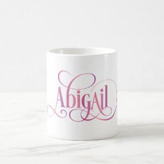 Personalized Swirly Script Abigail Pink Coffee Mug