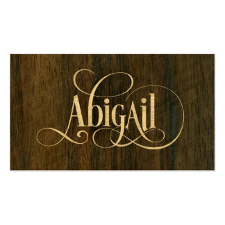 Personalized Swirly Script Abigail Wood Veneer Pack Of Standard Business Cards