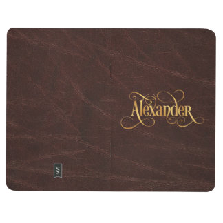 Personalized Swirly Script Alexander Gold Leather Journal