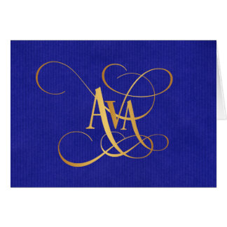 Personalized Swirly Script Ava Gold on Blue Greeting Card